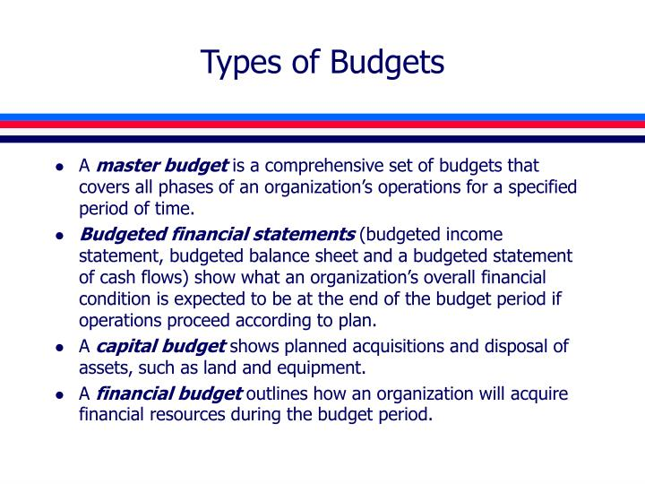 types of budgets n.