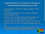legal reforms to introduce concept of sustainable development in sa