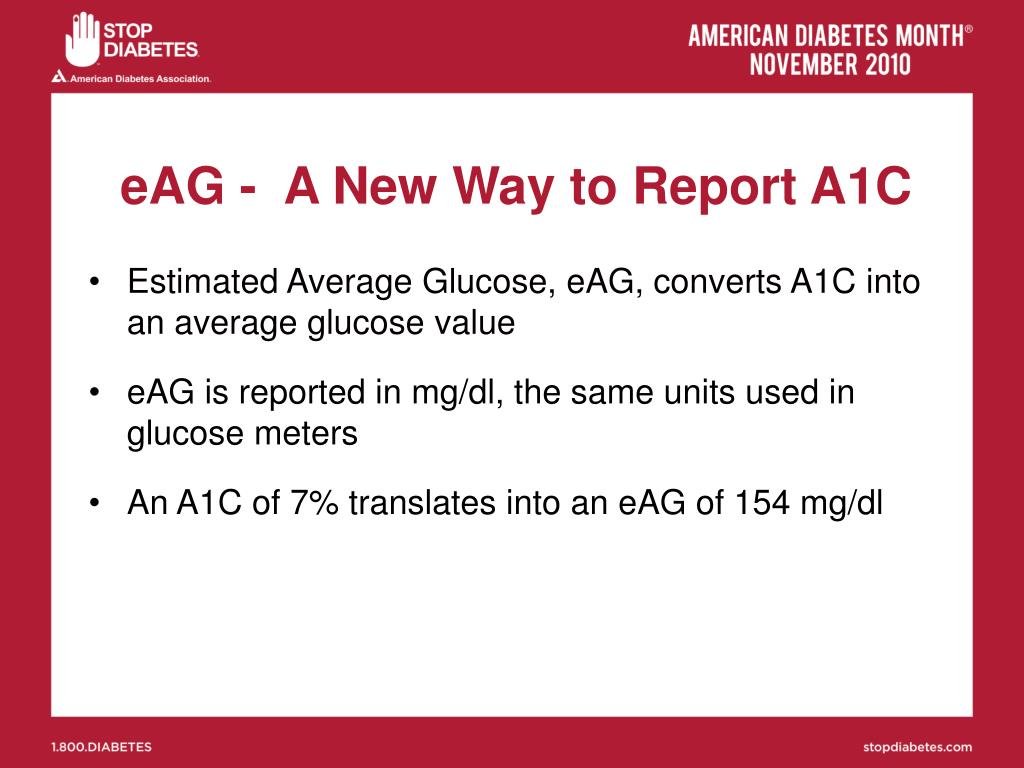 eAG -  A New Way to Report A1C