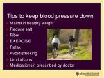 tips to keep blood pressure down