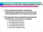 summary of ad hoc polymorphism 2 of 4