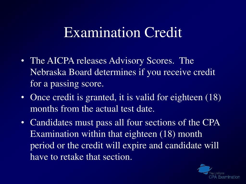 Examination Credit