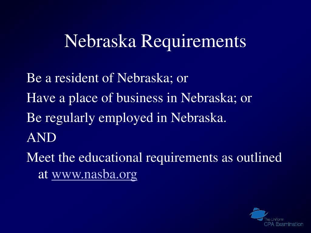 Nebraska Requirements