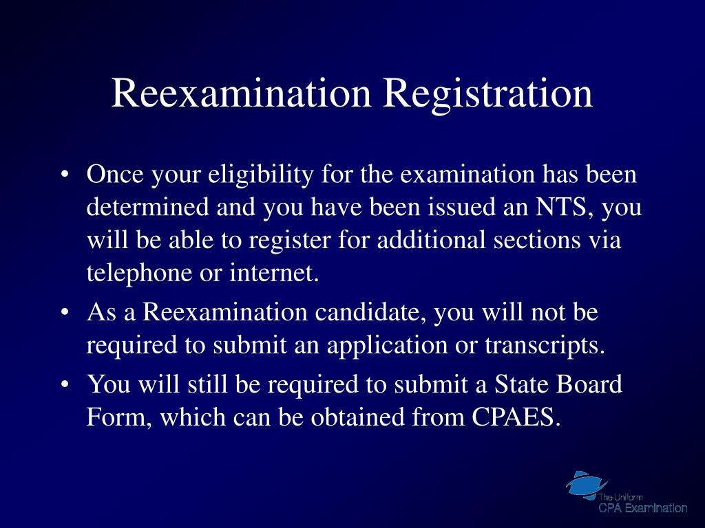 Reexamination Registration