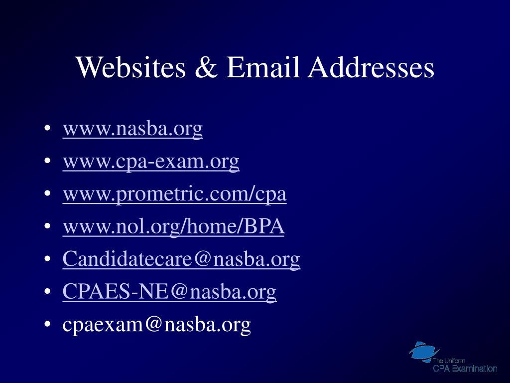 Websites & Email Addresses