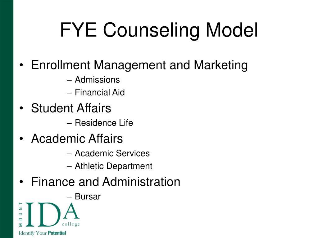 FYE Counseling Model