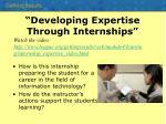 developing expertise through internships