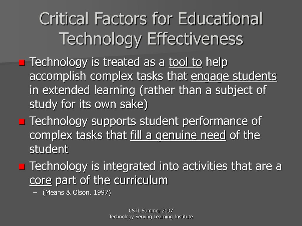 Critical Factors for Educational Technology Effectiveness