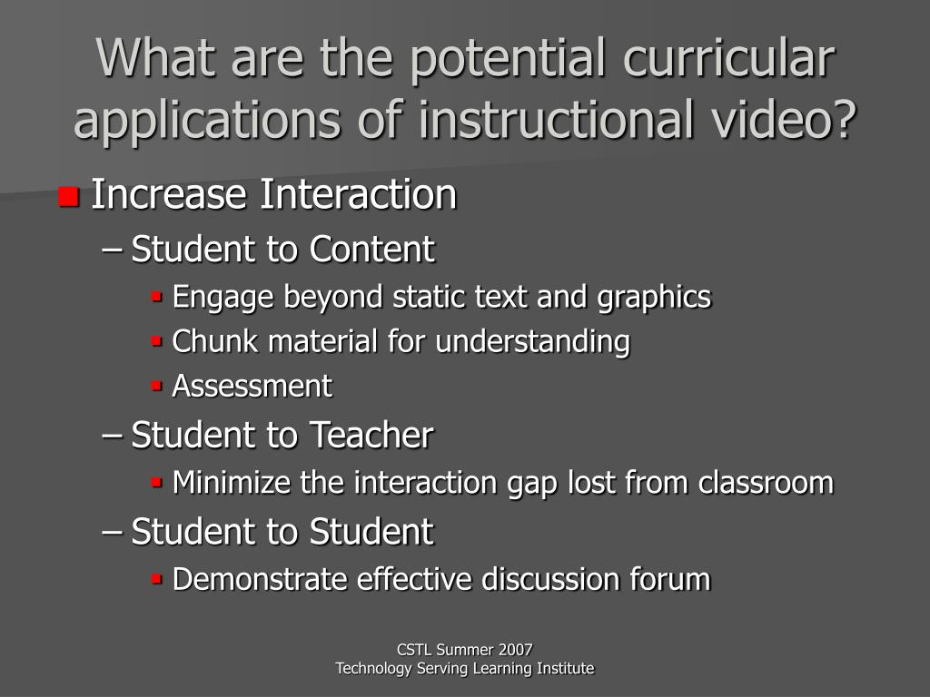 What are the potential curricular applications of instructional video?