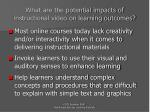 what are the potential impacts of instructional video on learning outcomes