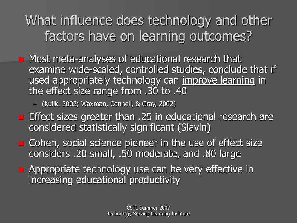 What influence does technology and other factors have on learning outcomes?