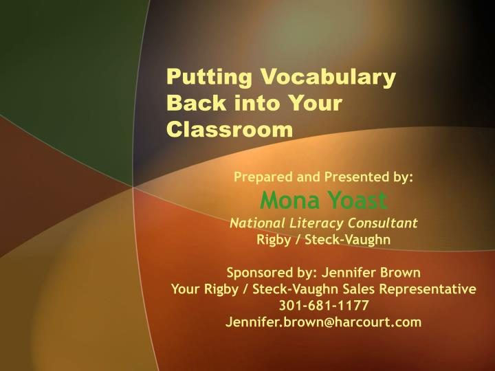 Putting vocabulary back into your classroom