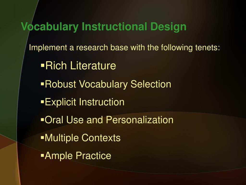 Vocabulary Instructional Design