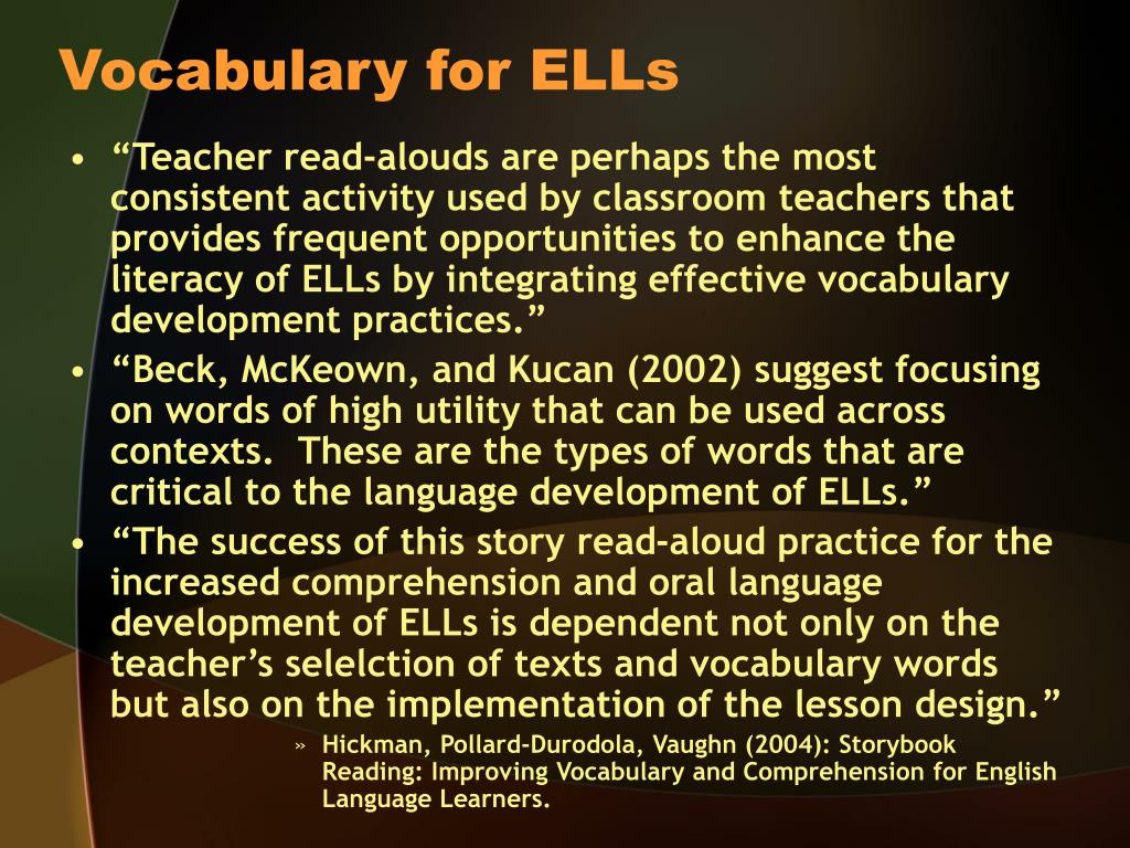 Vocabulary for ELLs