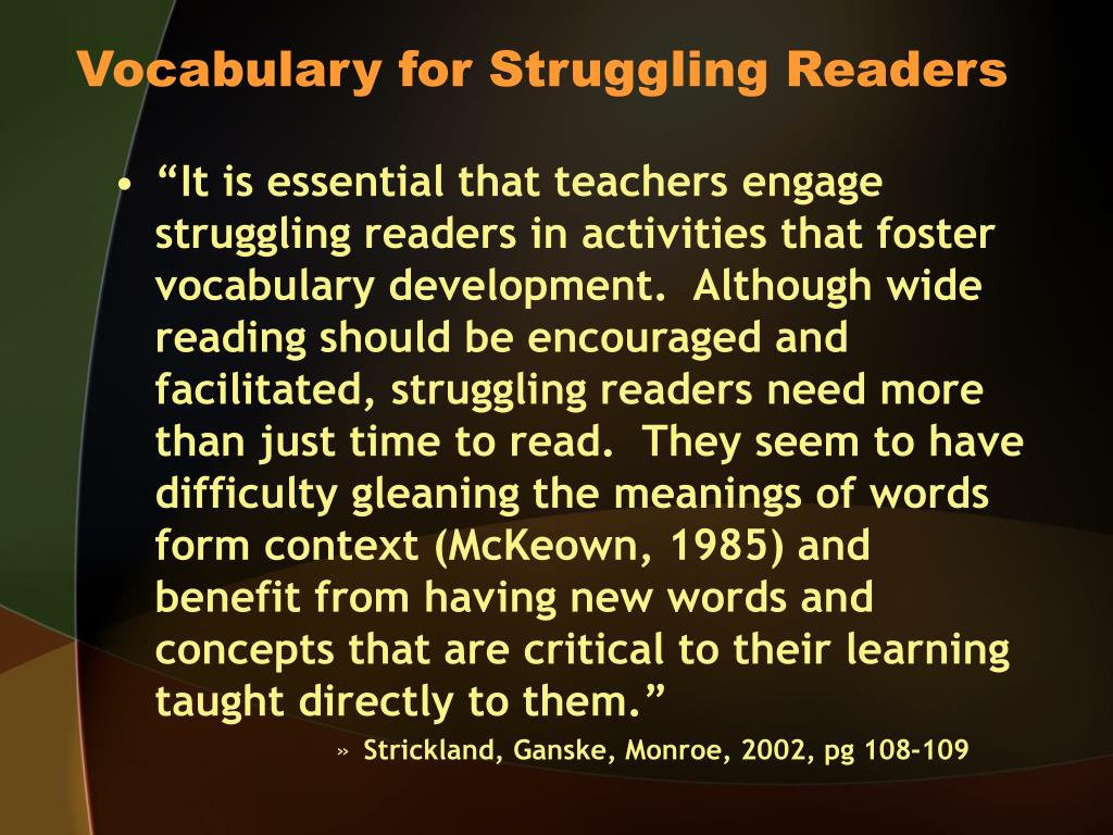 Vocabulary for Struggling Readers