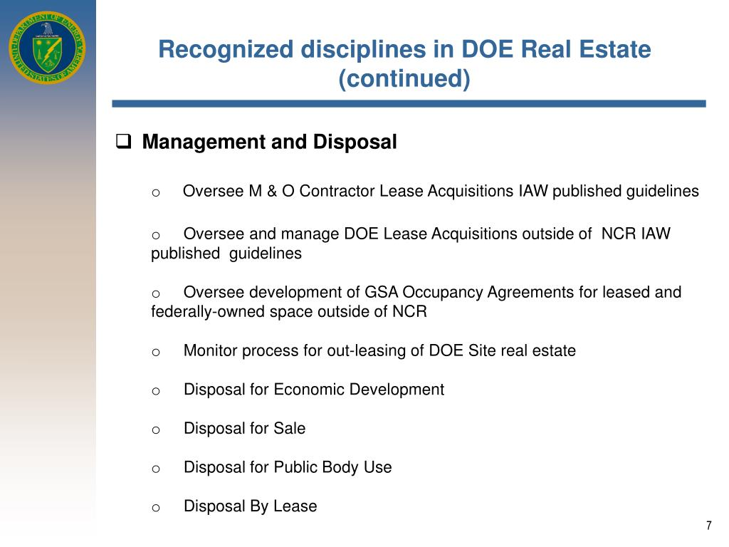 Recognized disciplines in DOE Real Estate (continued)