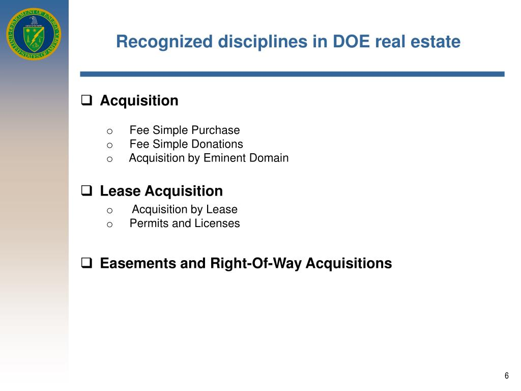 Recognized disciplines in DOE real estate