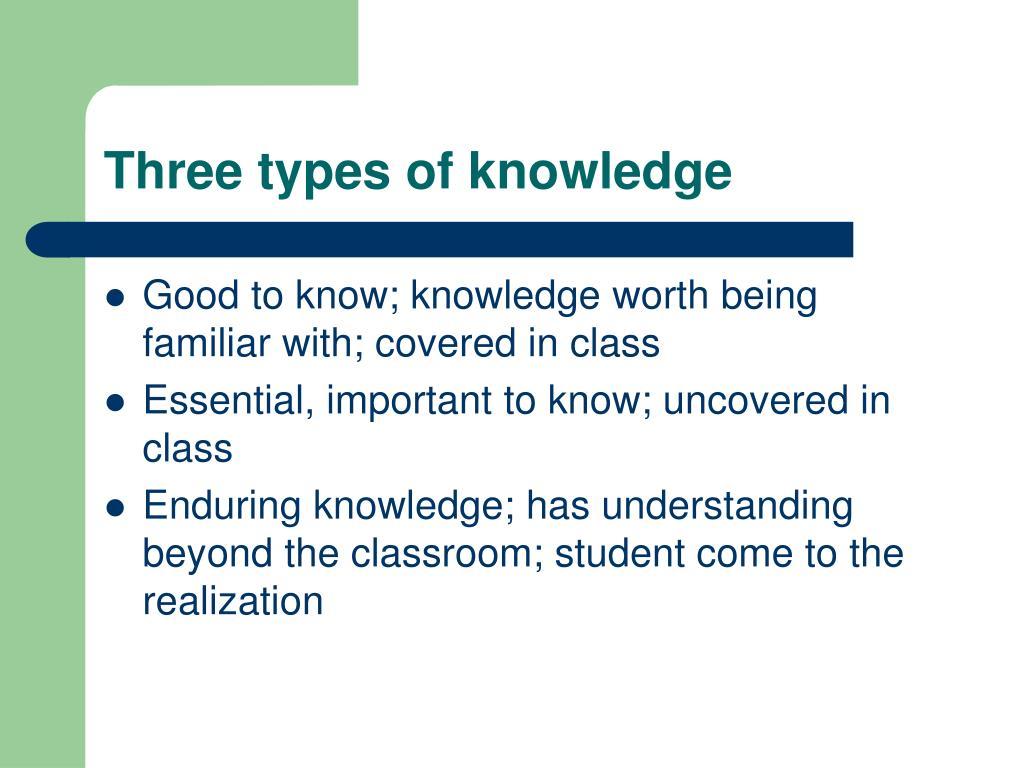 Three types of knowledge