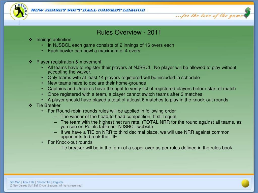 Rules Overview - 2011