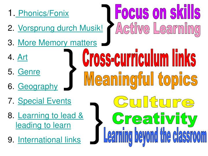A pot pourri of ideas for renewing your curriculum