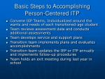 basic steps to accomplishing person centered itp