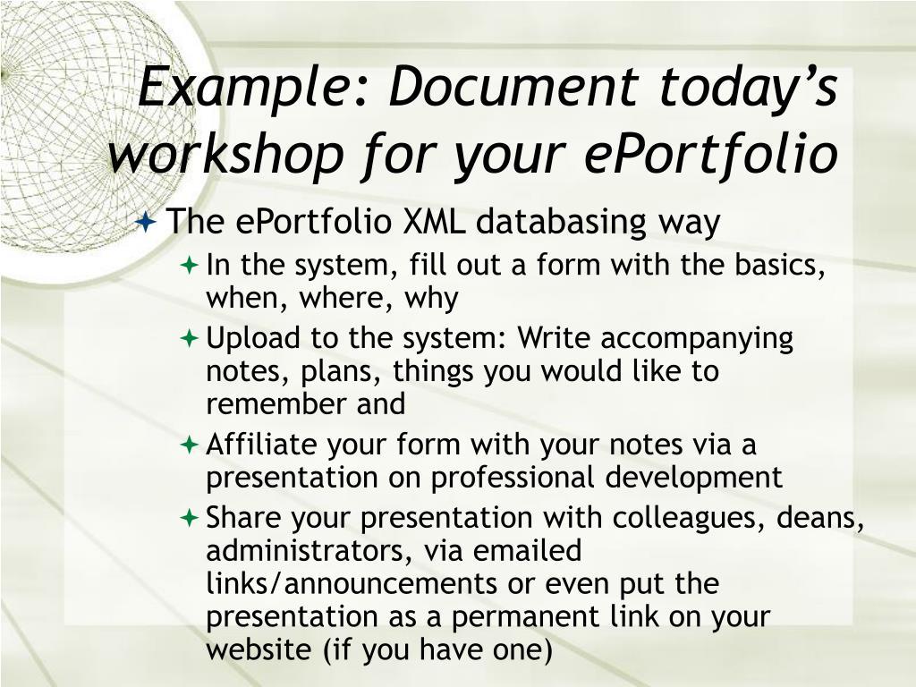Example: Document today's workshop for your ePortfolio