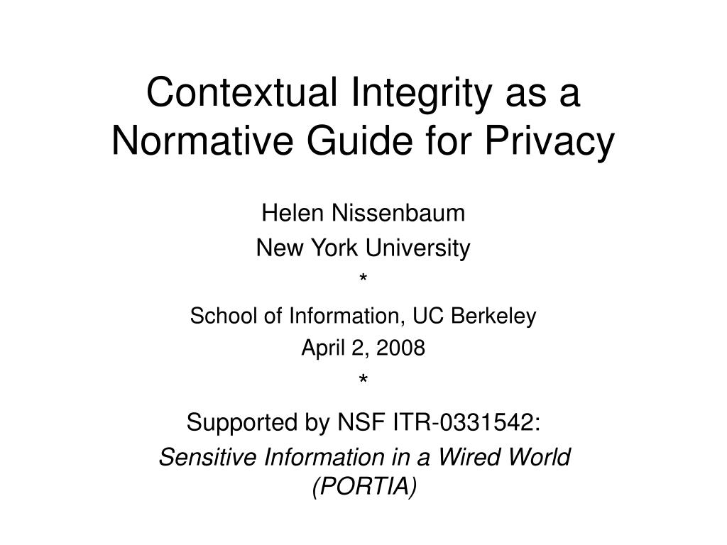 Contextual Integrity as a Normative Guide for Privacy