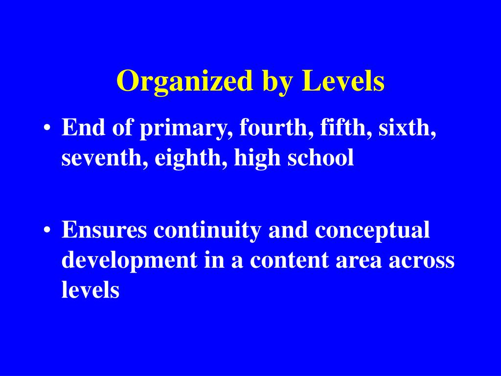 Organized by Levels