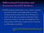 differentiated curriculum and instruction for gat students