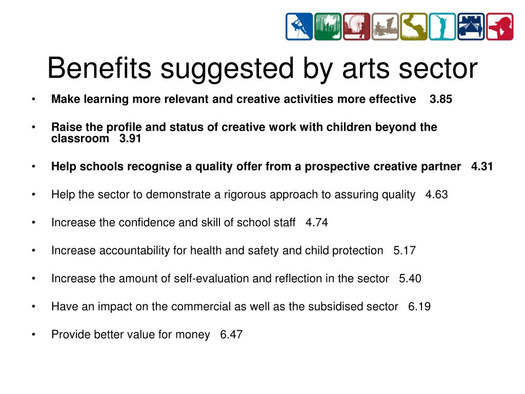 Benefits suggested by arts sector