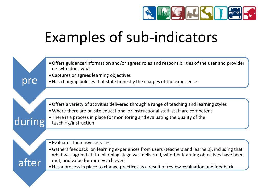 Examples of sub-indicators