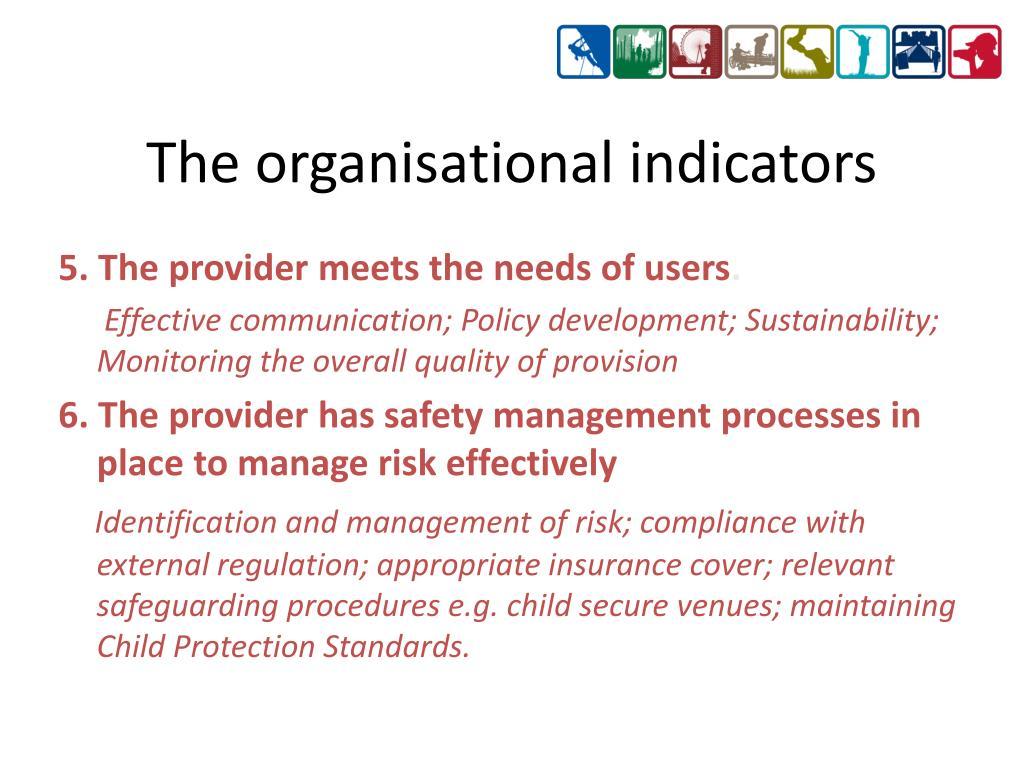 The organisational indicators
