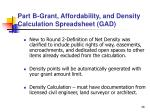 part b grant affordability and density calculation spreadsheet gad