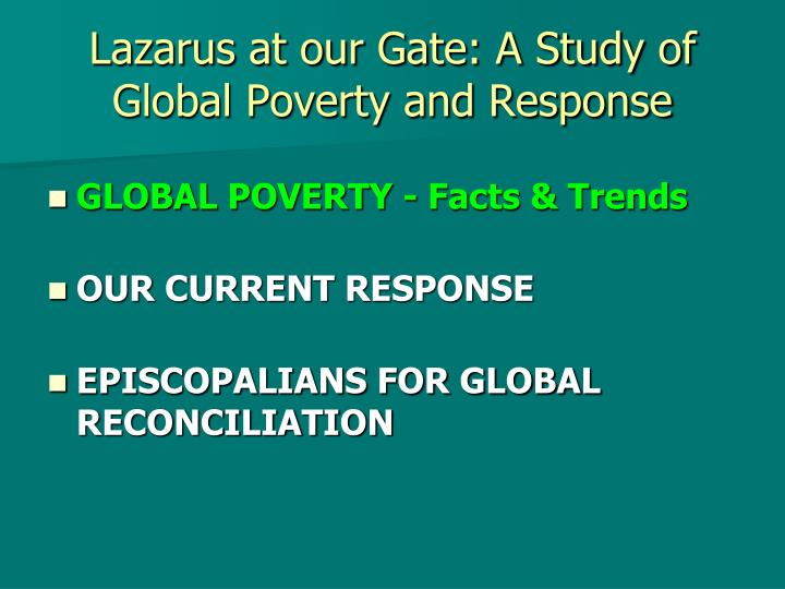 Lazarus at our gate a study of global poverty and response