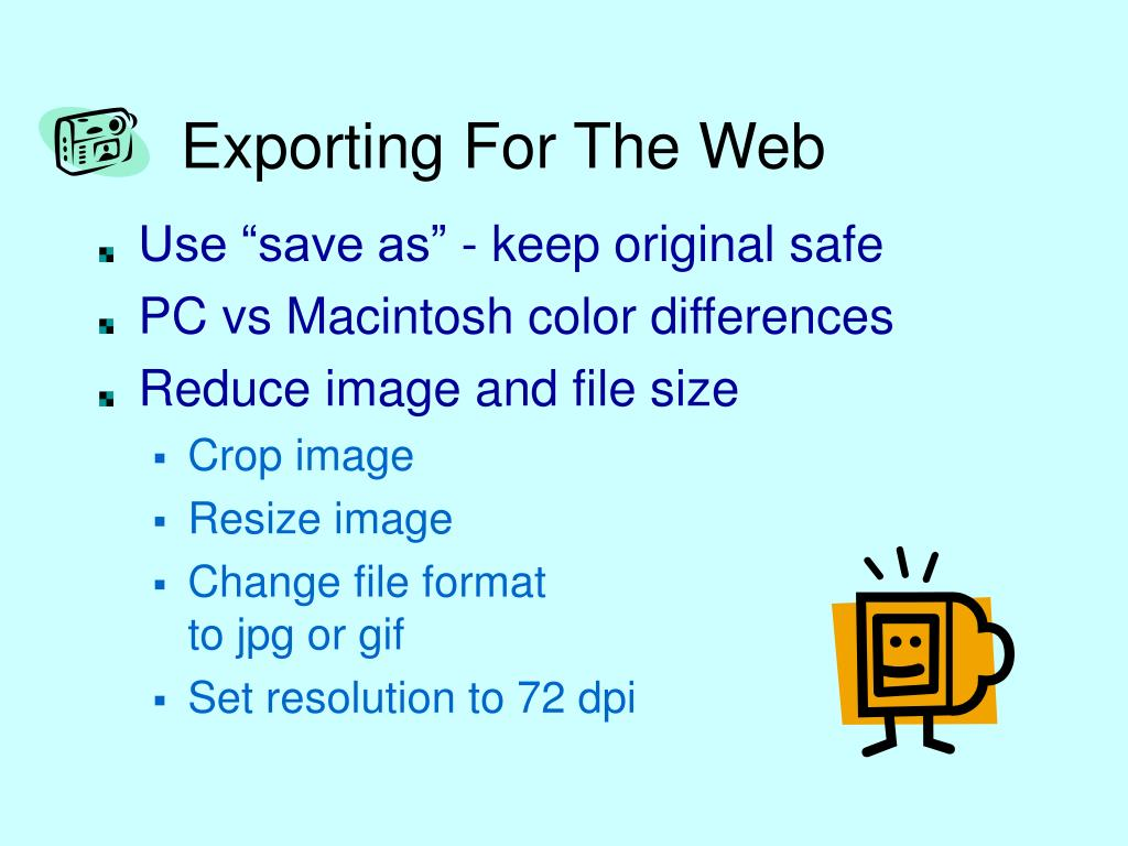Exporting For The Web