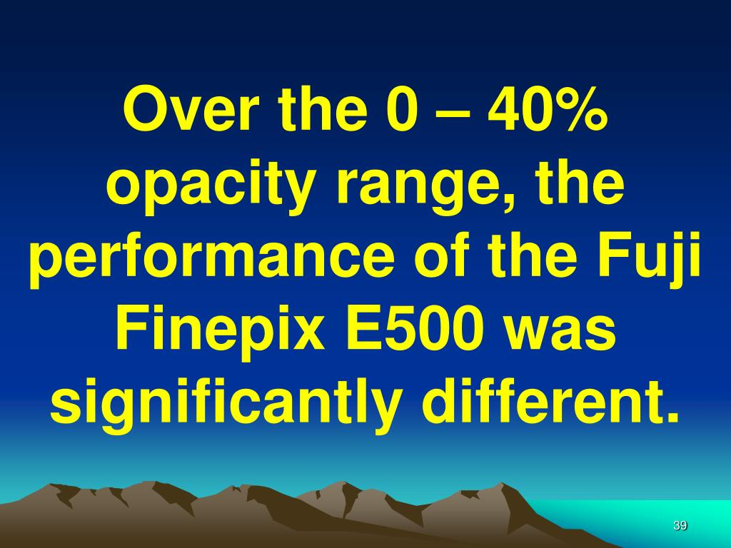 Over the 0 – 40% opacity range, the performance of the Fuji Finepix E500 was significantly different.