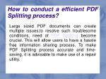 how to conduct a efficient pdf splitting process