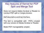 key features of kernel for pdf split and merge tool