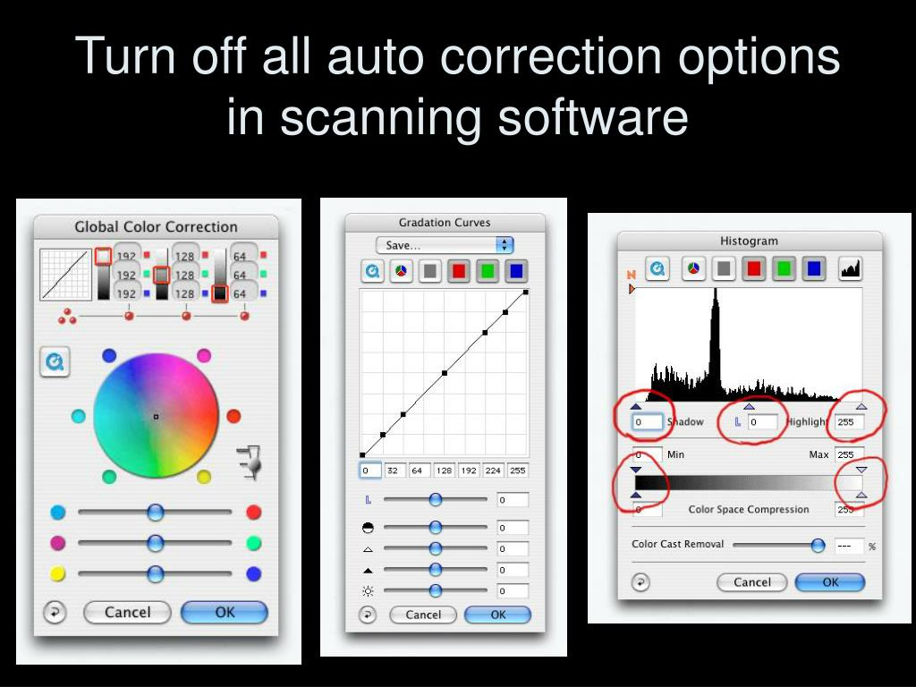 Turn off all auto correction options in scanning software