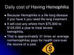 daily cost of having hemophilia