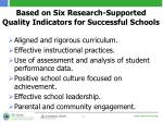 based on six research supported quality indicators for successful schools