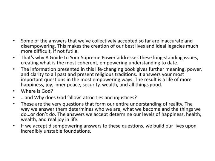 Some of the answers that we've collectively accepted so far are inaccurate and disempowering. This...