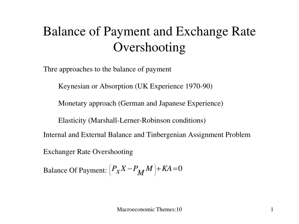 balance of payment and exchange rate overshooting l.