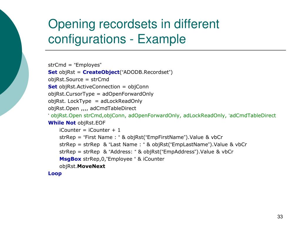Opening recordsets in different configurations - Example