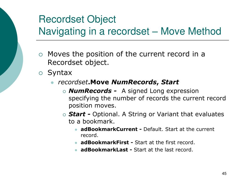 Recordset Object