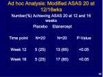 ad hoc analysis modified asas 20 at 12 16wks