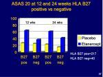 asas 20 at 12 and 24 weeks hla b27 positive vs negative