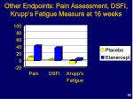 other endpoints pain assessment dsfi krupp s fatigue measure at 16 weeks