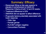 summary efficacy