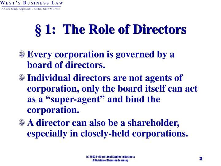 1 the role of directors